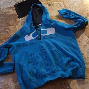 Oakley turquoise logo hoodie zip front sweatshirt